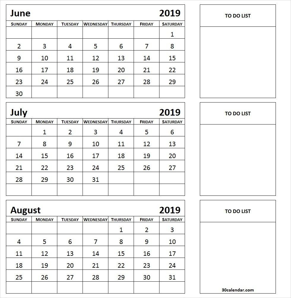 June To August 2019 Calendar | 3 Month Calendar Template-June July August Calendar Template