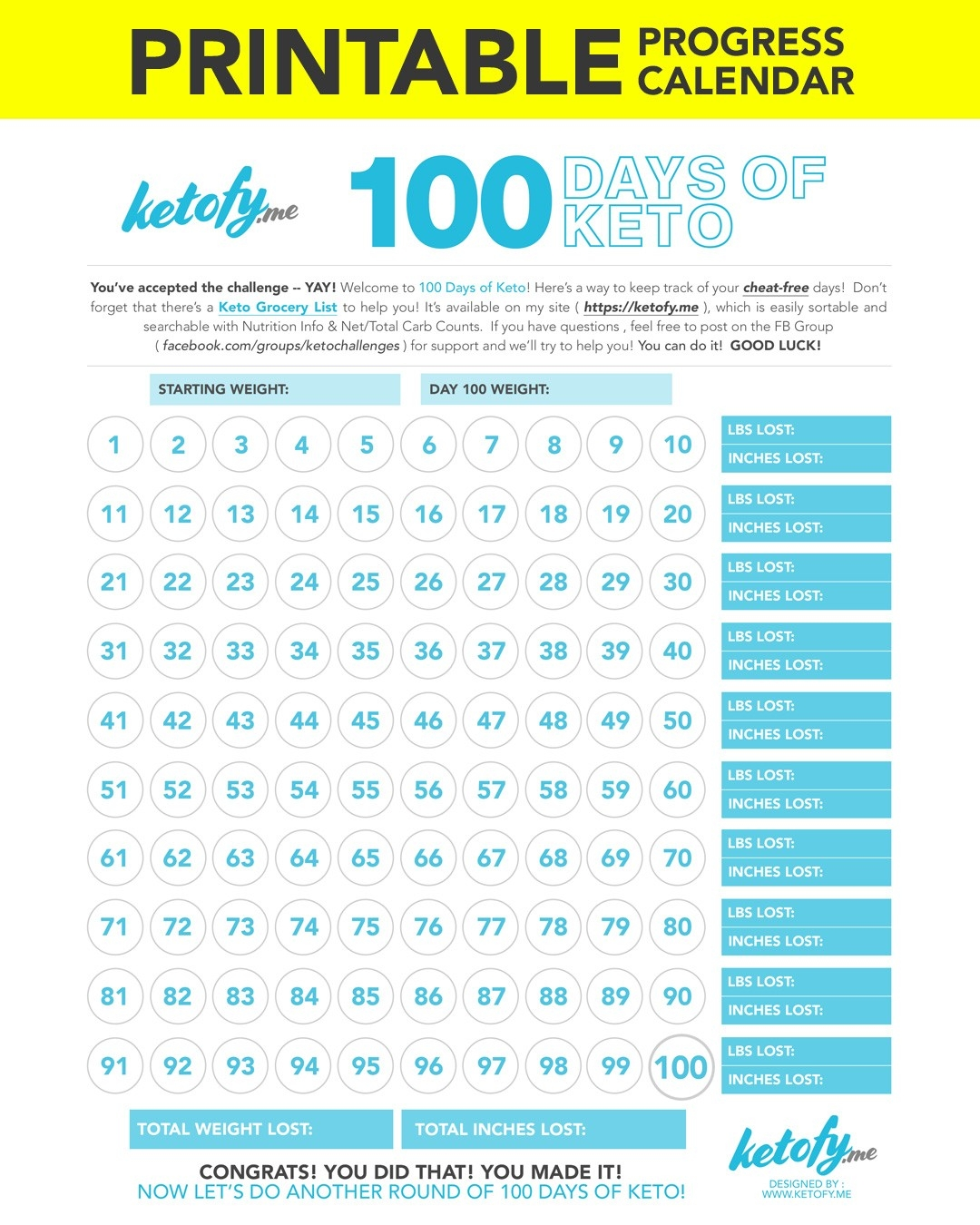 Keto ~ Fy Me | Cut Carbs, Not Flavor! • 100 Days Of Keto-Blank Countdown Calendar 50 Days