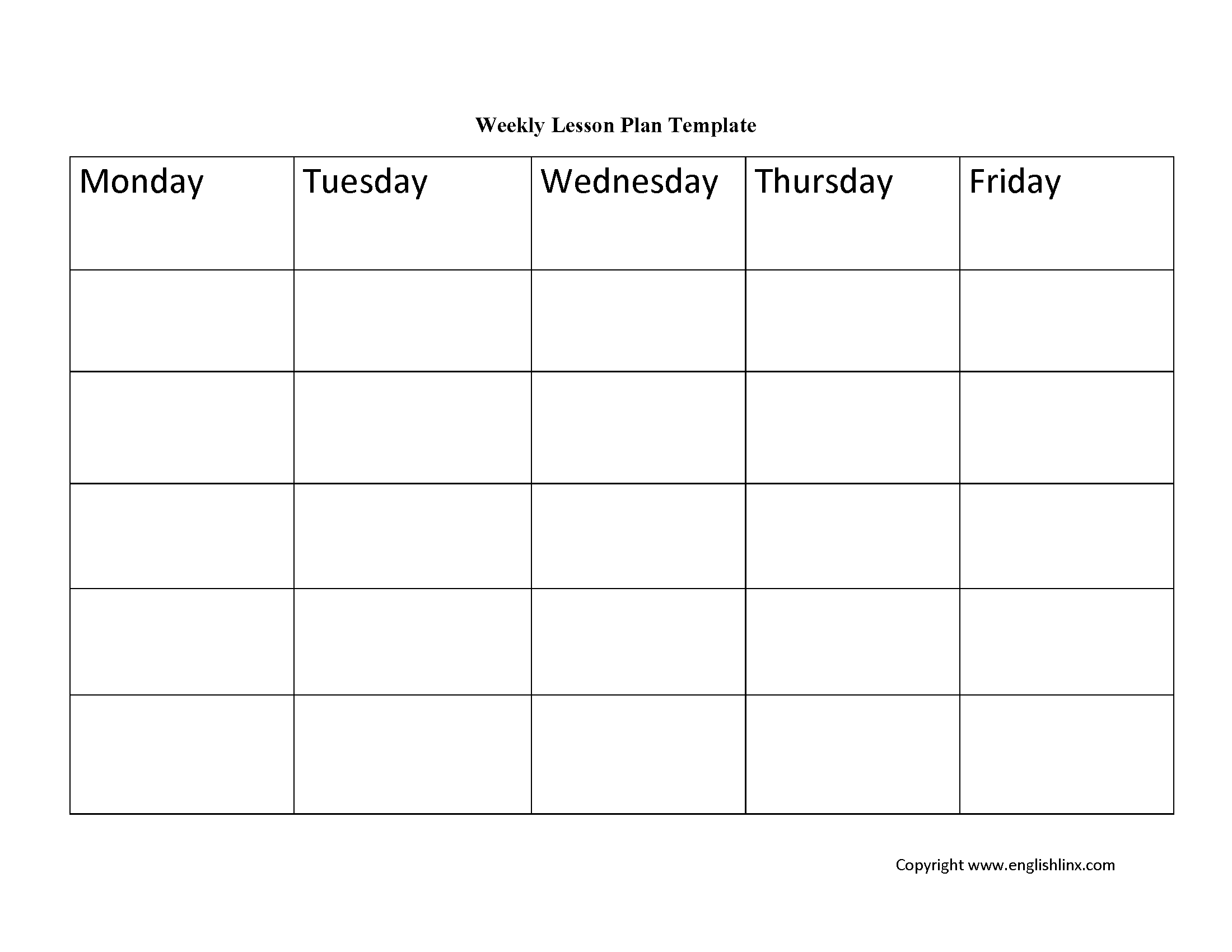 Lesson Plan Template | Weekly Lesson Plan Template-Weekly Lesson Plan Blank Template