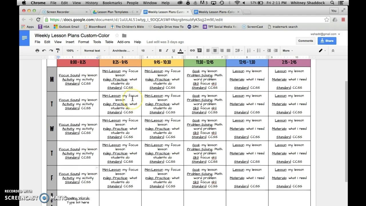 Lesson Plan Templates: Google Drive-Free Google Drive Planner Template