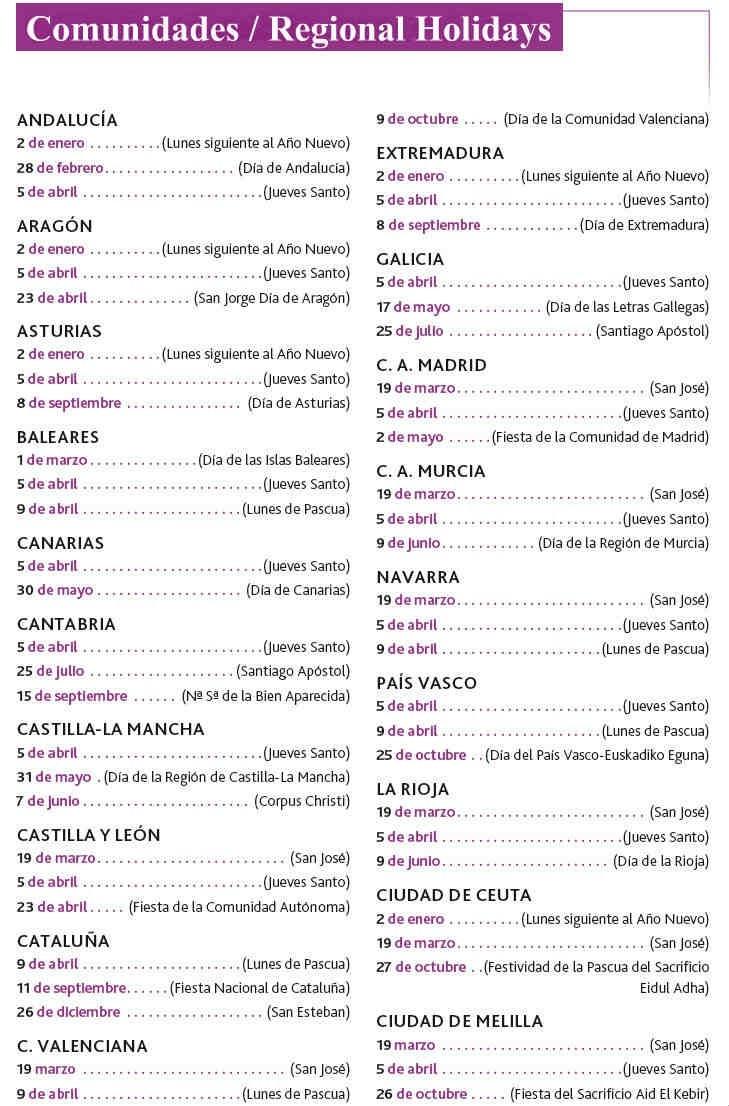 List Of Spanish Holidays, Spanish National Holidays, Bank-List Of All Food National Holidays