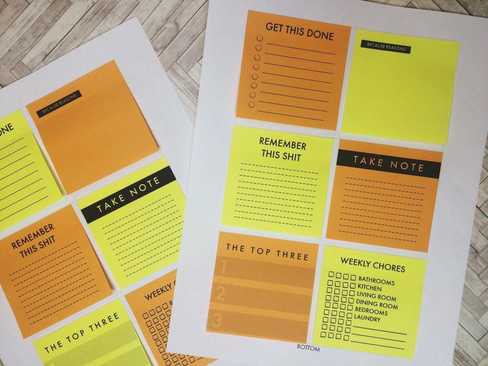 Make It Monday // Diy Printable Planner Sticky Notes-Free Sticky Note Calendar Template