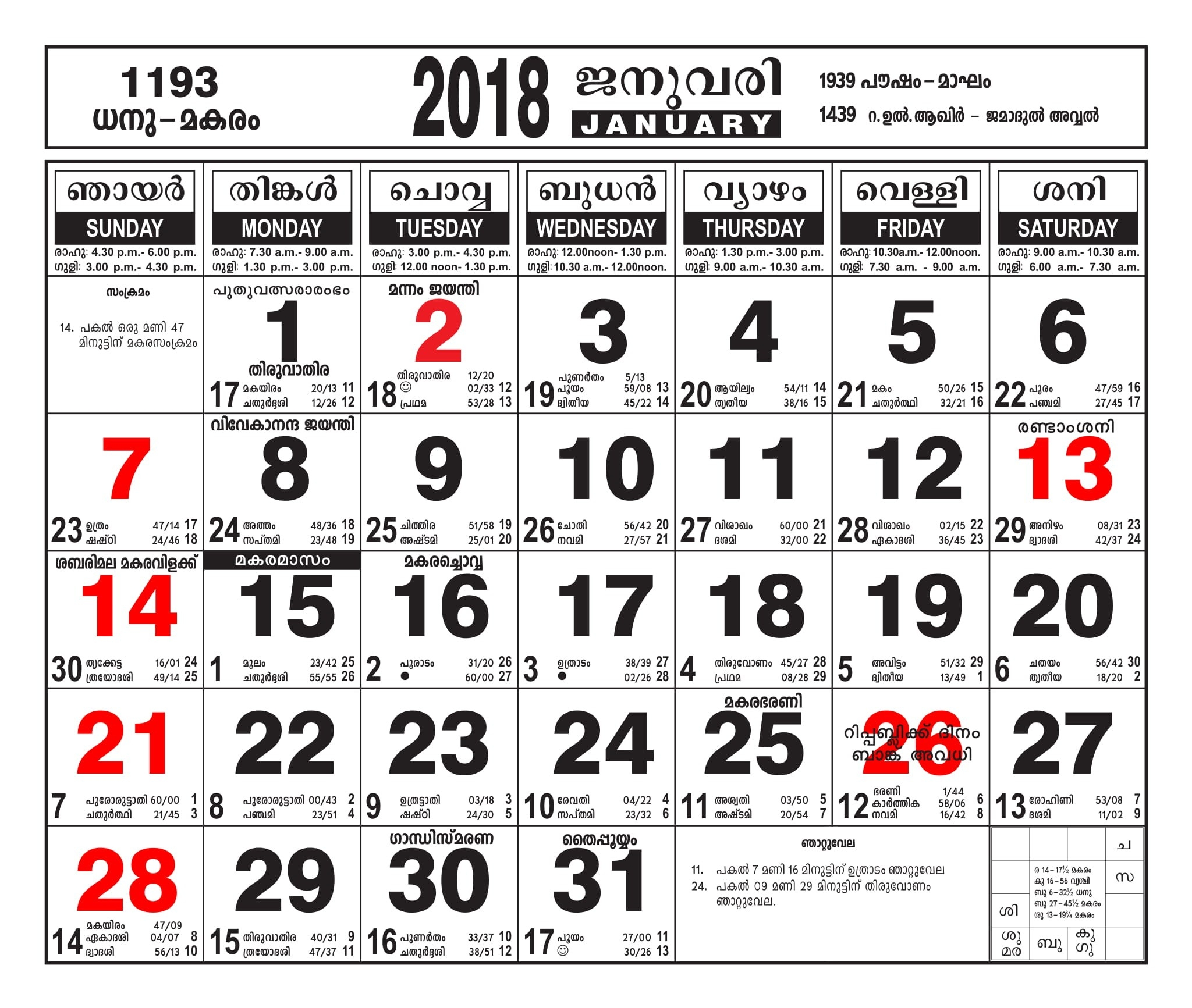Malayalam Calendar January 2018 – Malayalamcalendars-January 2020 Calendar Kerala