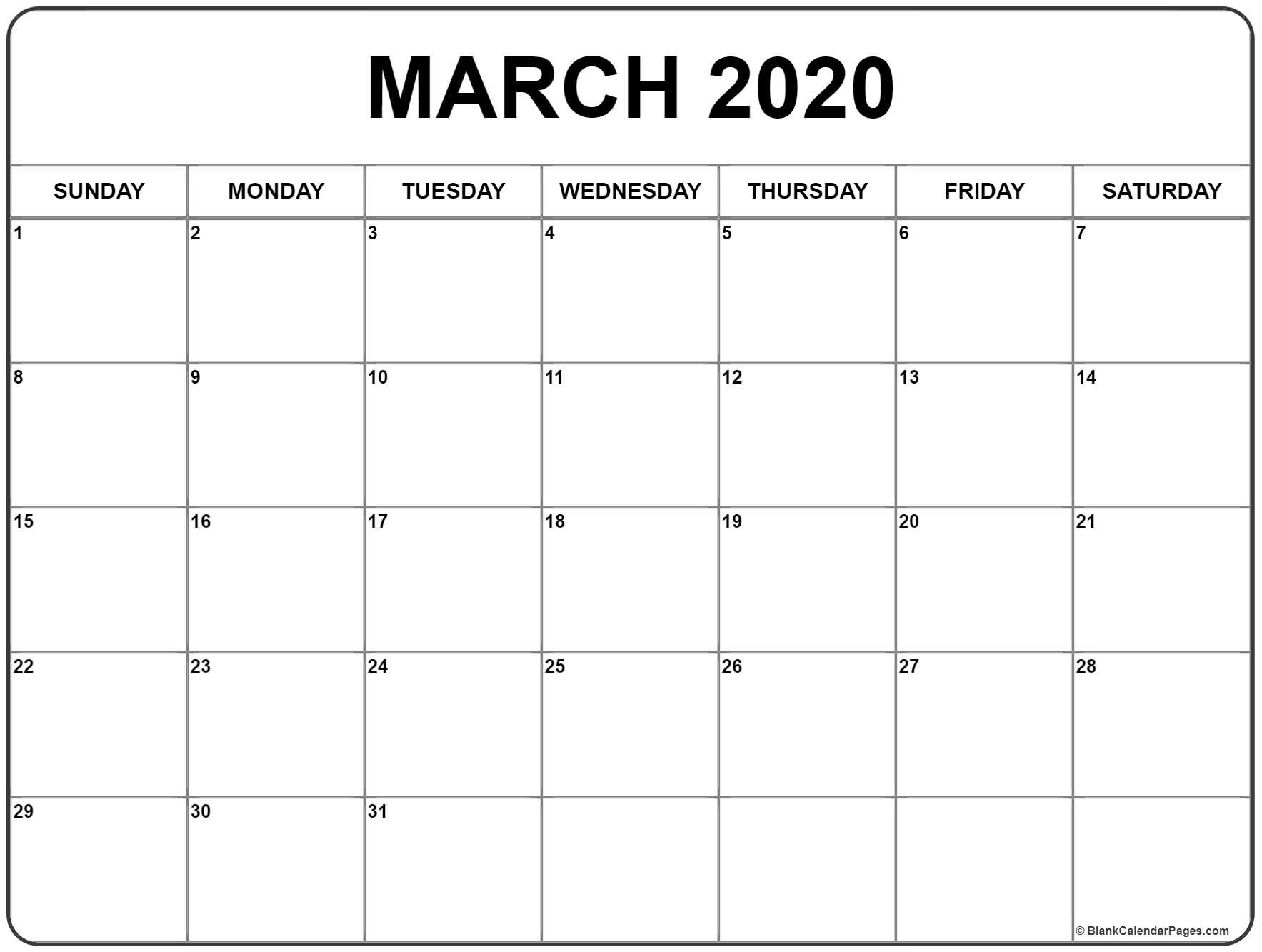 March 2020 Calendar | Free Printable Monthly Calendars-2020 Calendar January February March