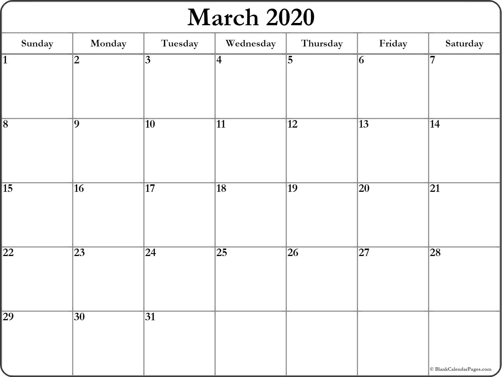 March 2020 Calendar | Free Printable Monthly Calendars-Printable Blank Calendar Pages Free 2020
