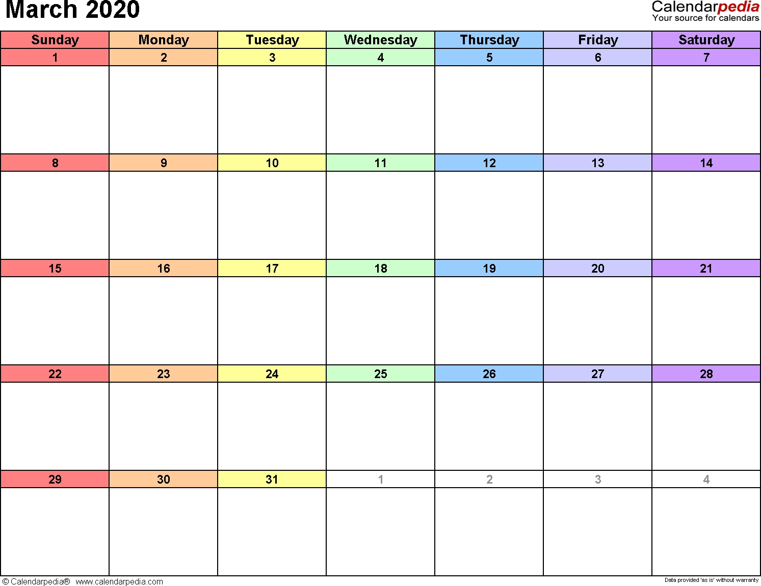 March 2020 Calendars For Word, Excel & Pdf-3 Month Editable Calendar 2020 Template