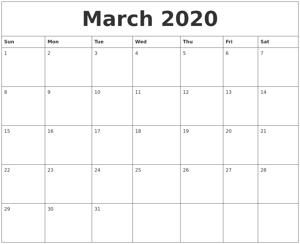 March 2020 Free Printable Monthly Calendar-Printable Monthly Calendar Starting On Monday