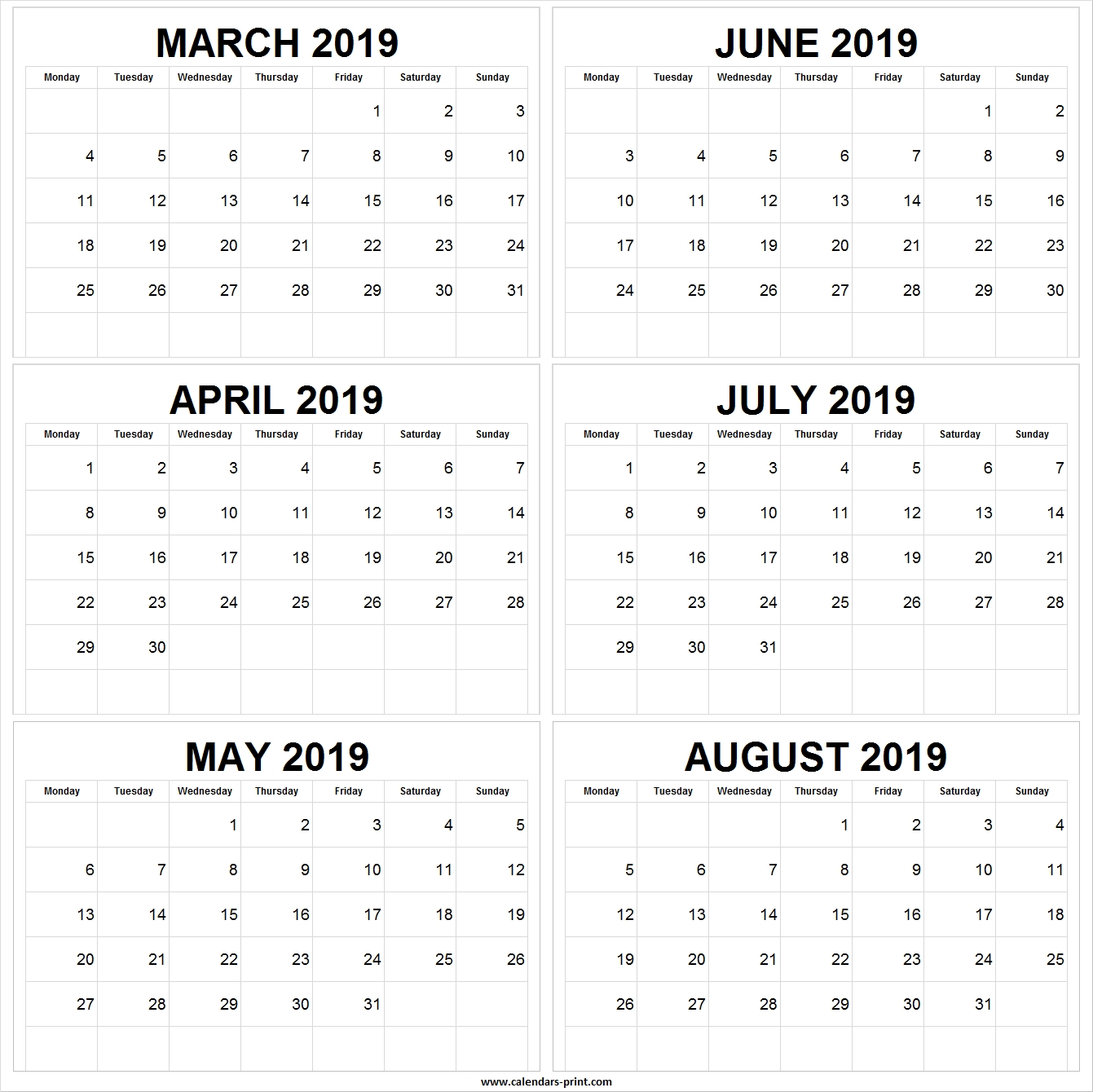 March April May June July August 2019 Calendar   March 2019-June July August Monthly Calendar Print