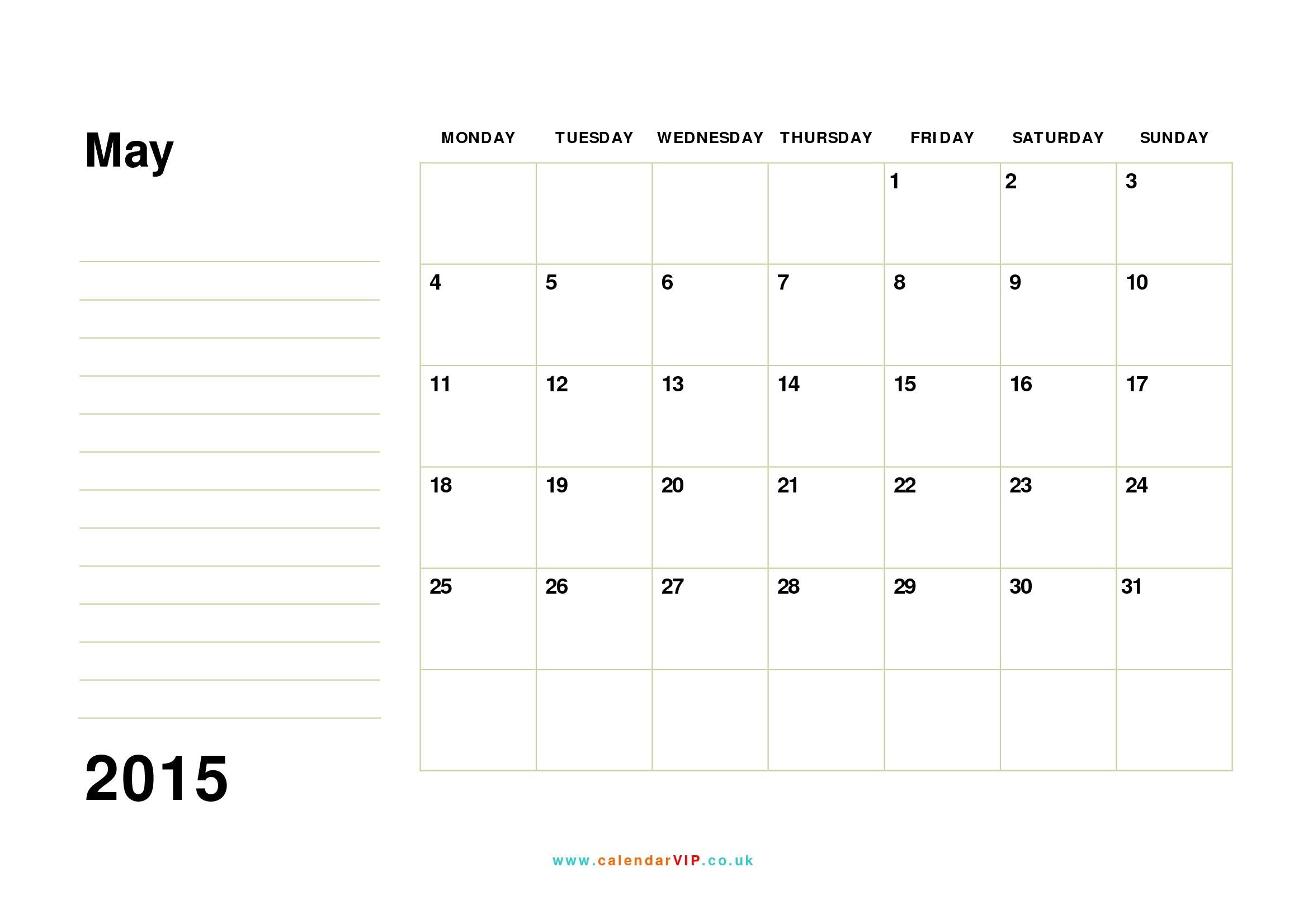May 2015 Calendar - Free Monthly Calendar Templates For Uk-Uk Monthly Calendar Template