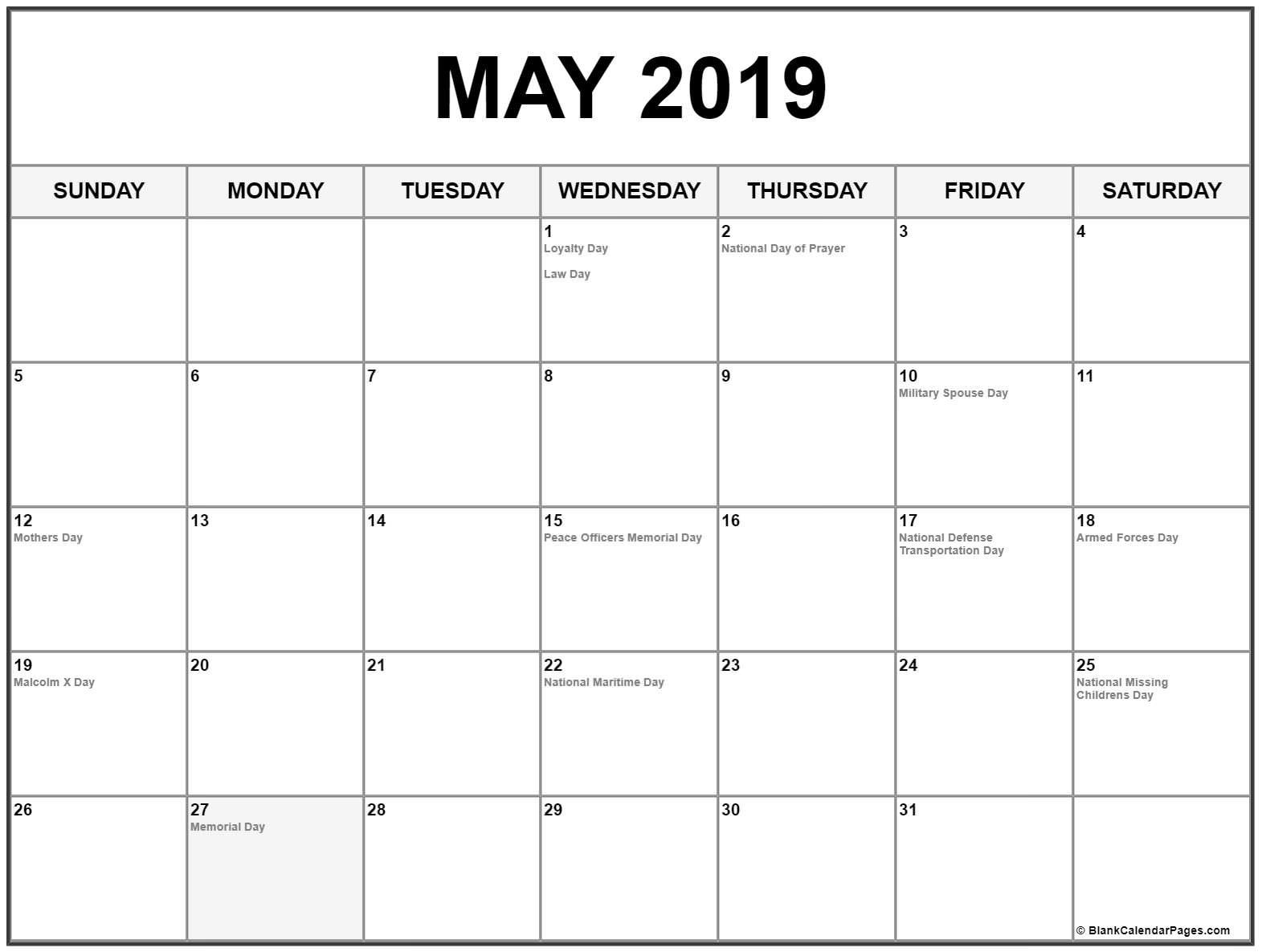 May 2019 Calendar Us Holidays   Printable Monthly Calendar-Us Printable Blank Calendars
