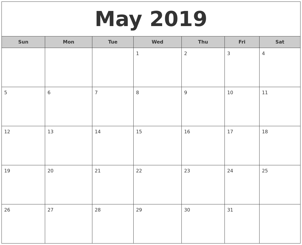 May 2019 Free Monthly Calendar-Monday To Friday Monthly Calendar