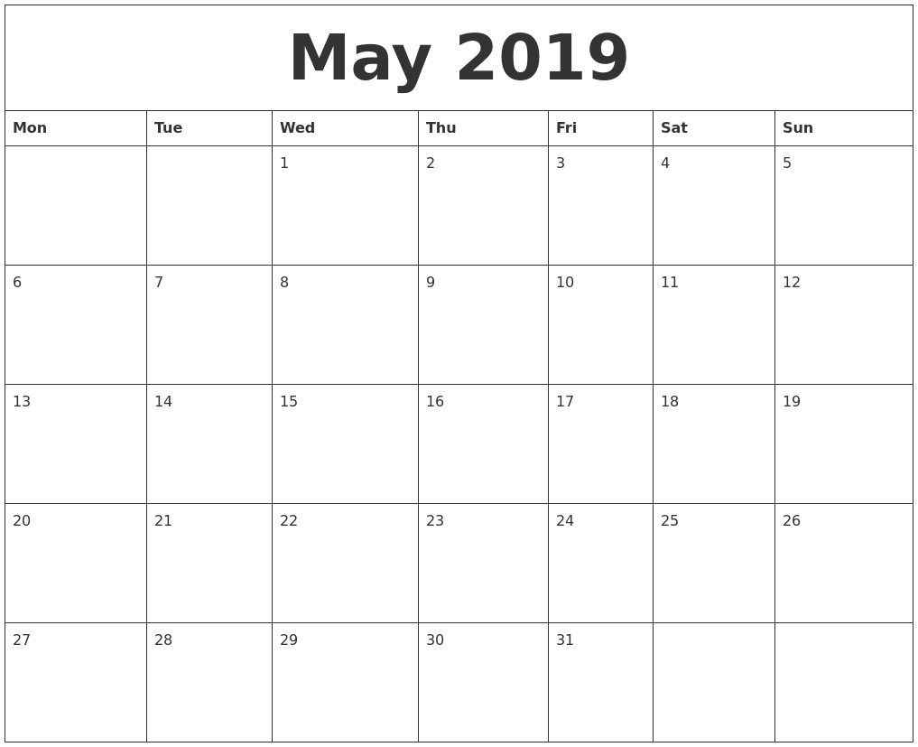 May 2019 Free Printable Monthly Calendar-Free Blank Calender Montly Starting On Monday