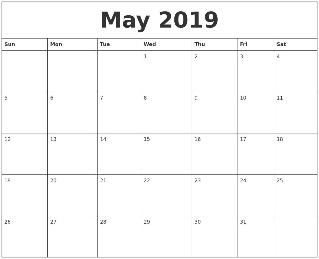 May 2019 Free Printable Monthly Calendar-Printable Monthly Calendar Starting On Monday
