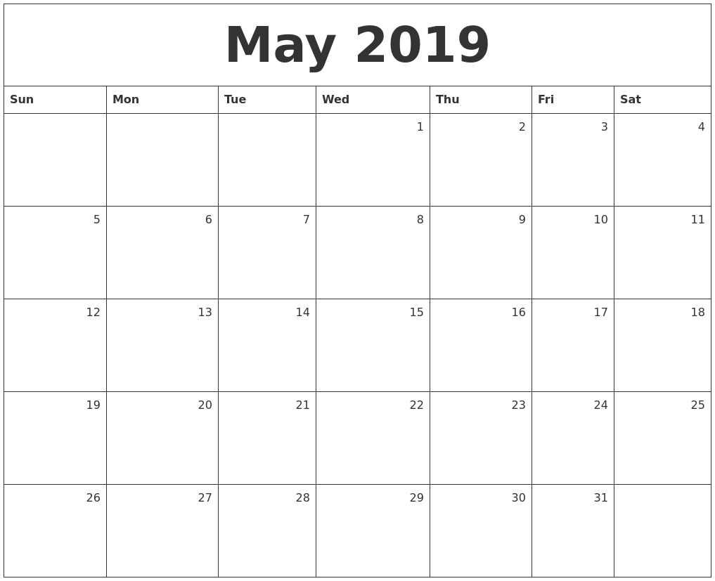 May 2019 Monthly Calendar-Calendar Monday To Sunday Monthly