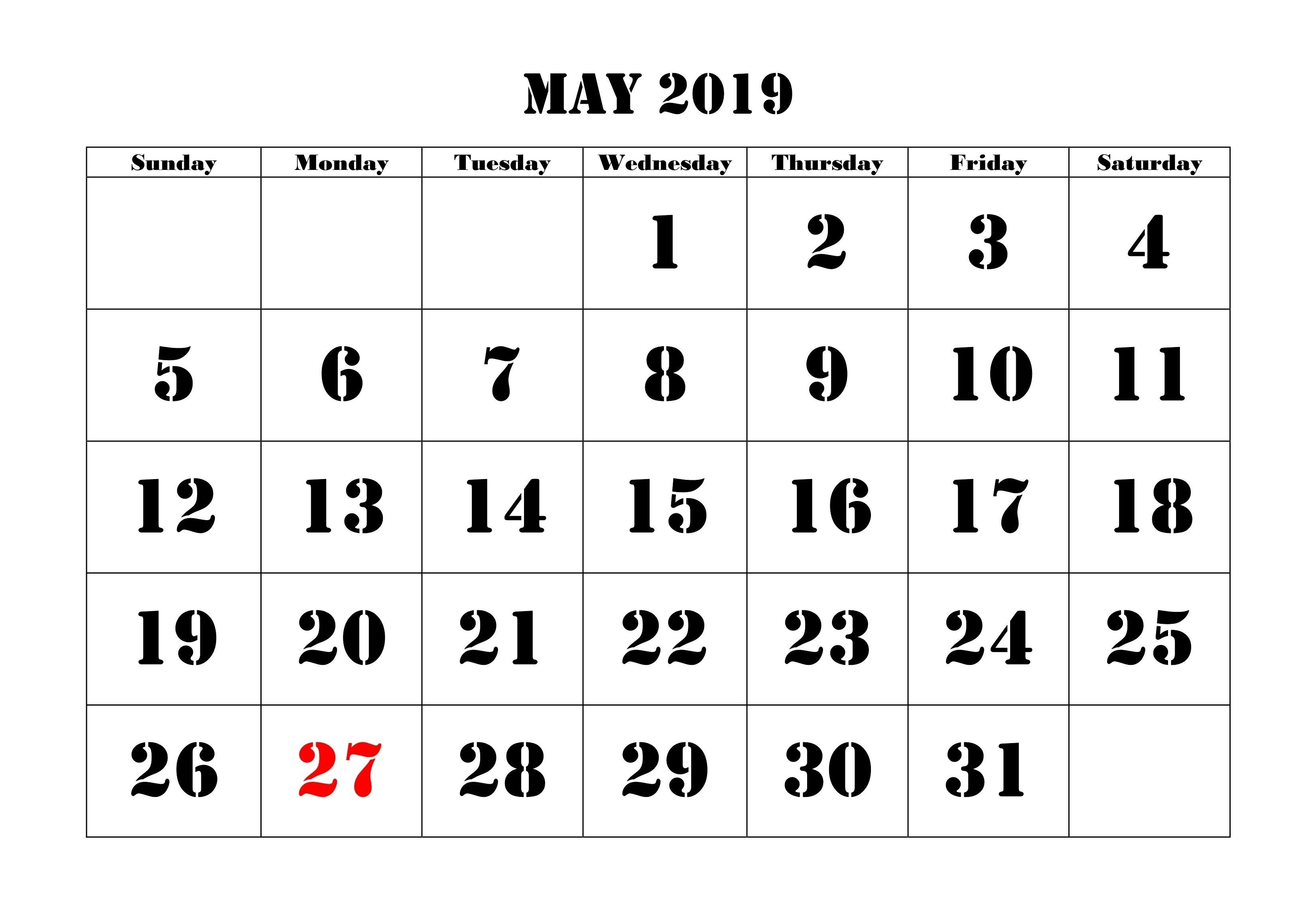 May 2019 Printable Calendar For Landscape And Vertical | May-January 2020 Calendar Printable Wincalendar
