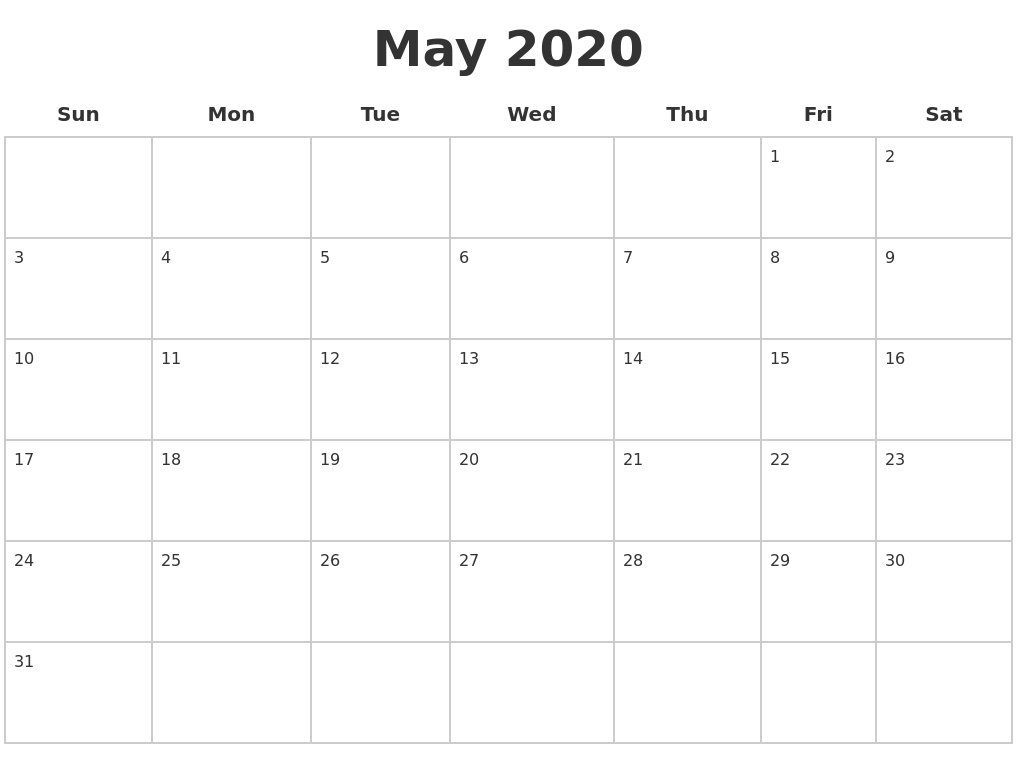 May 2020 Blank Calendar Pages-Blank 2 Pages Calendar 2020