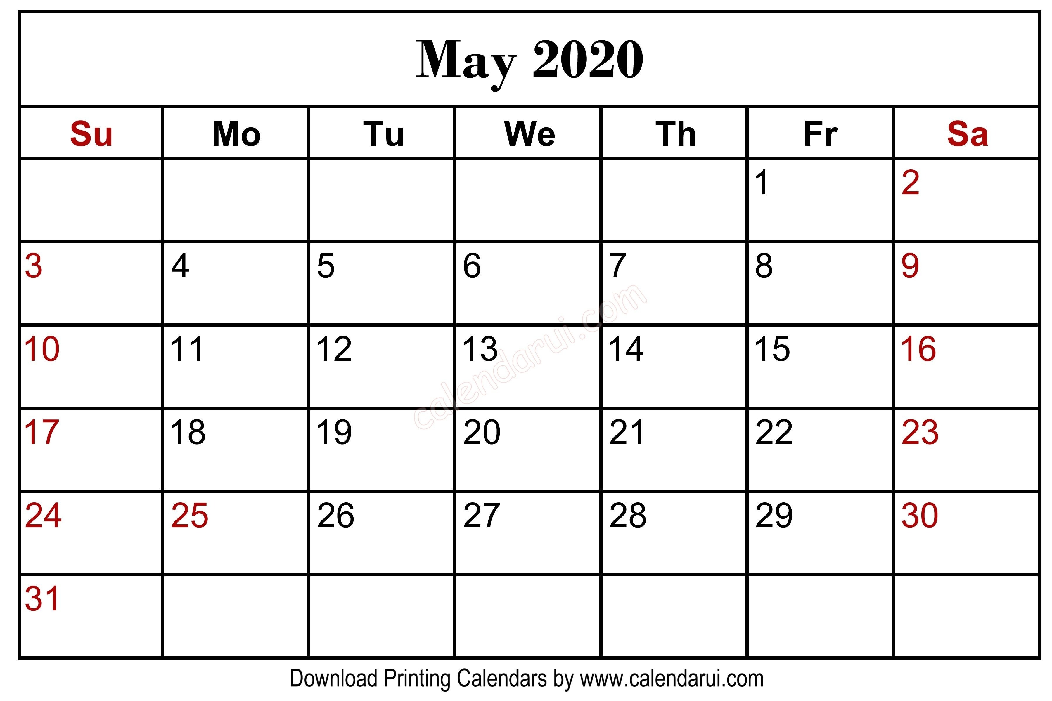 May 2020 Blank Calendar Printable Free Download Centre-January 2020 Calendar Kalnirnay