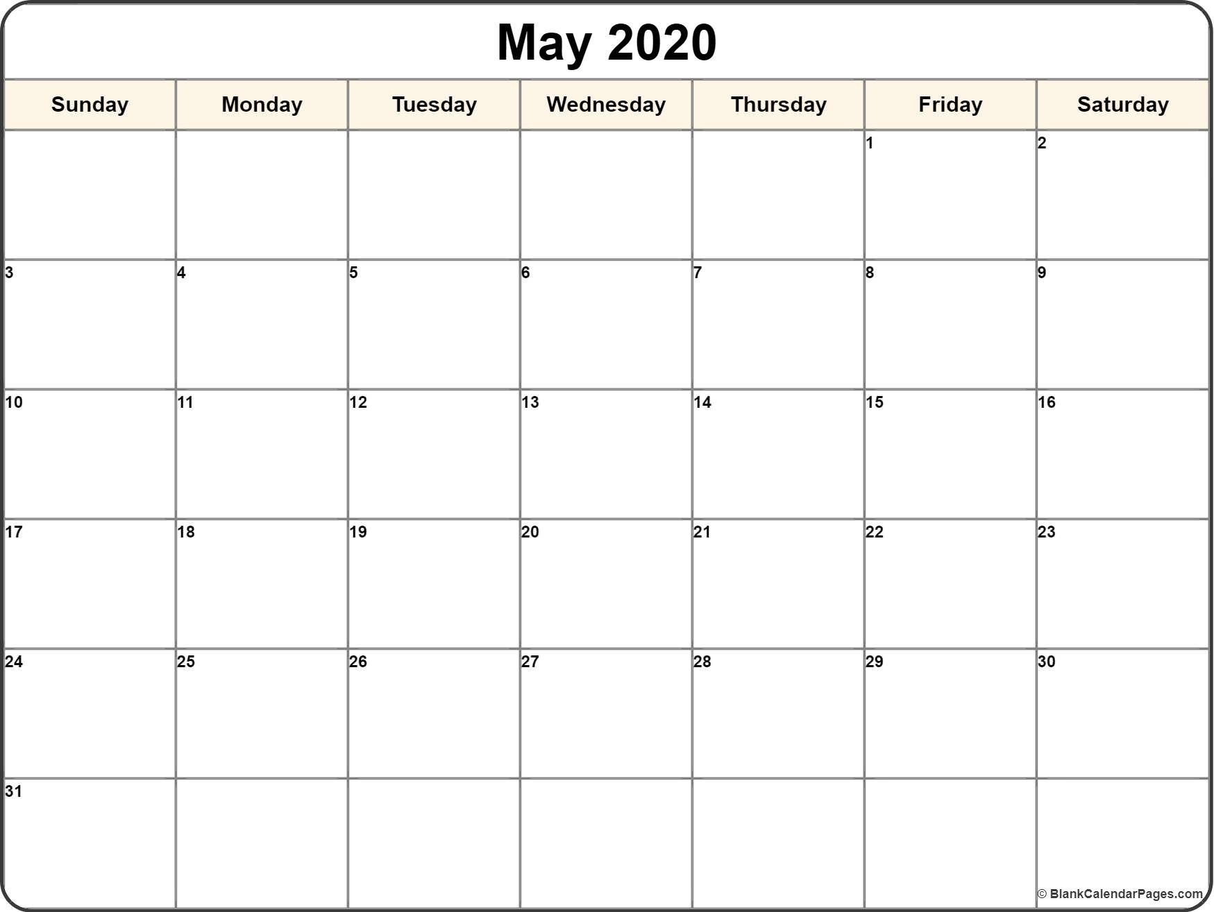May 2020 Calendar | Free Printable Monthly Calendars-2020 Printable Calendar Templates Free