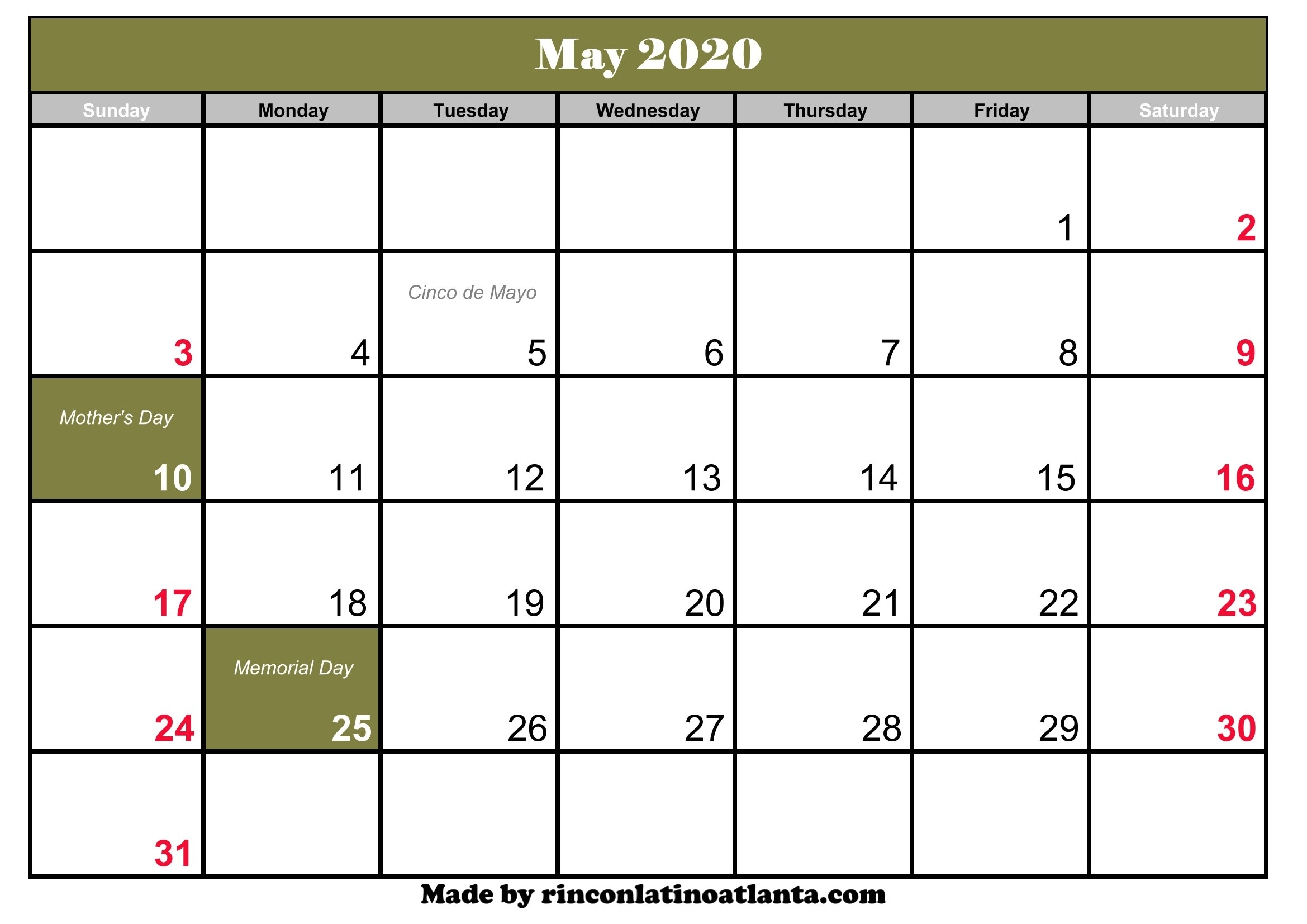 May 2020 Calendar With Holiday | Calendar Template Printable-2020 May All Holidays