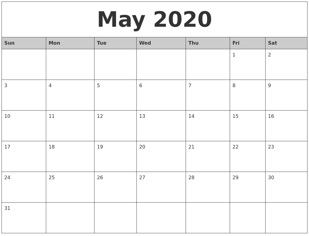 May 2020 Monthly Calendar Printable-Printable 2020 Monthly Calendar Monday Start