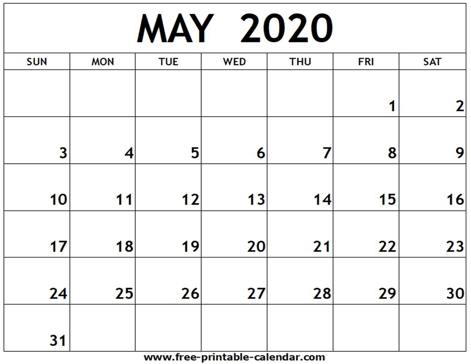 May 2020 Printable Calendar - Free-Printable-Calendar-Blank Calandar Of Events 2020
