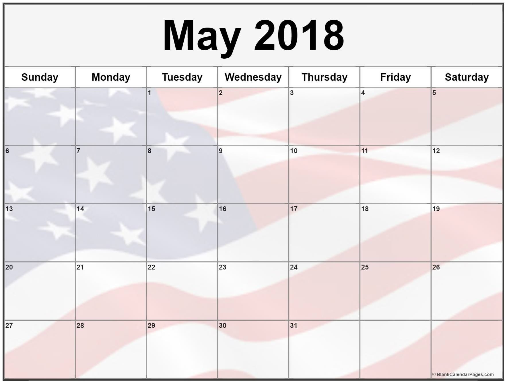 May Calendar 2018 Printable Blank Calendar With Us Flag-Us Printable Blank Calendars