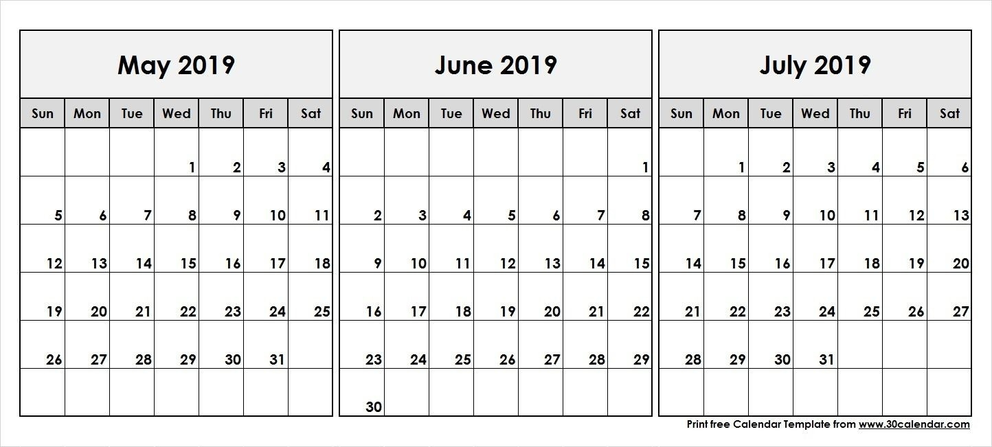May June July 2019 Calendar | 2019 Calendar In 2019-Month Of June And July Blank Calendar