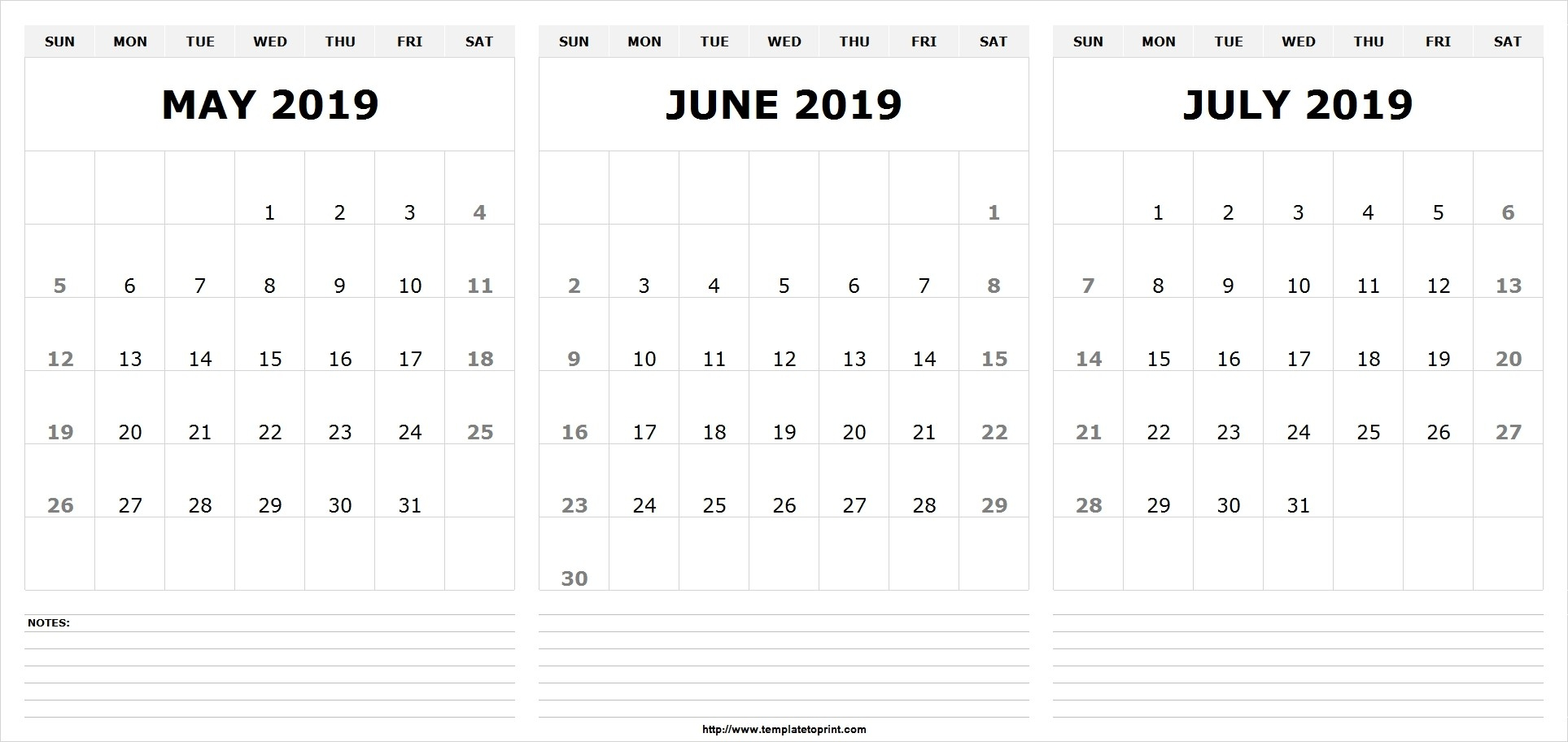 May June July 2019 Calendar (3 Months) Templates Printable-Blank Calendar June July August Combination Printable