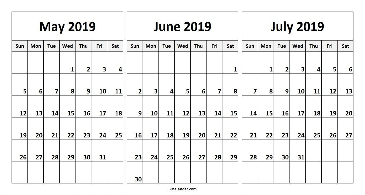 May June July 2019 Calendar Template | 2019 Calendars | 2019-Printable Monthly Calendars For June And July