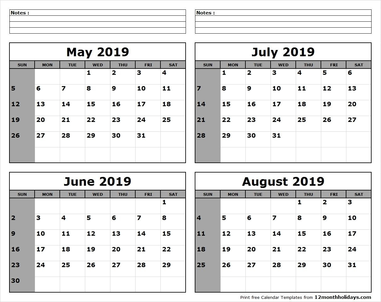 May-June-July-August-2019-Calendar-To-Print - All 12 Month-June July August Monthly Calendar Print