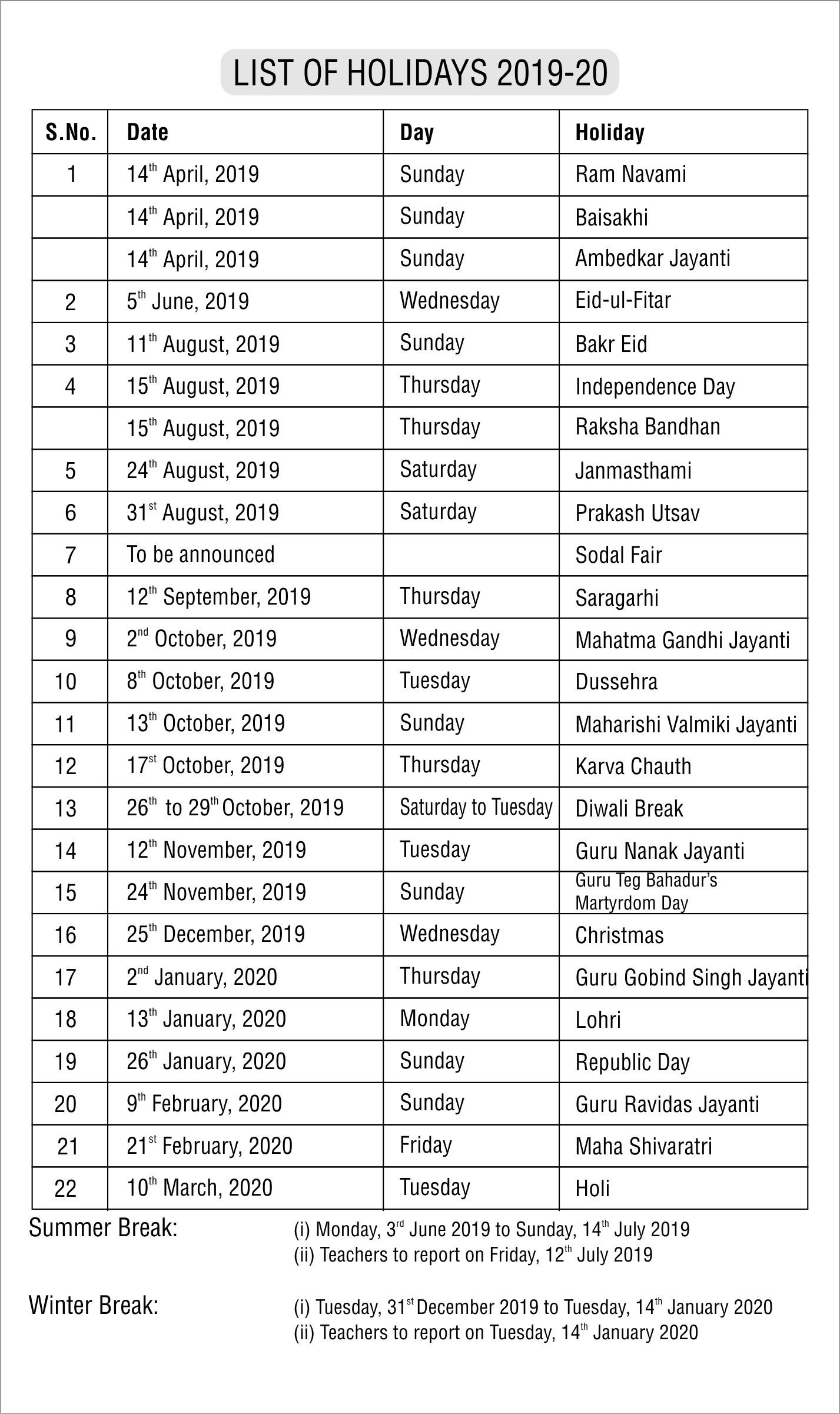 Mayor World School-List Of Holidays 2020