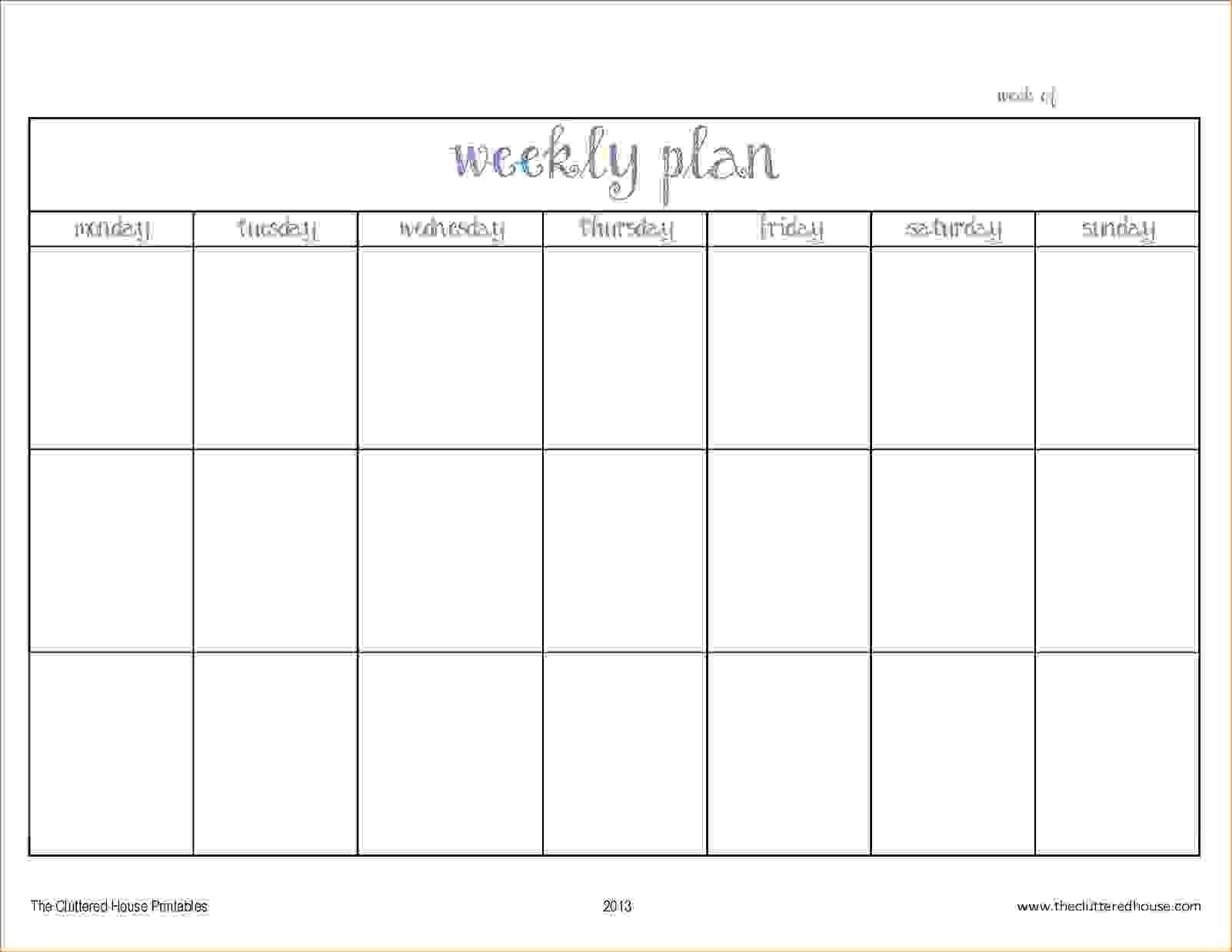 Monday – Friday Planner Template   Calendar Printing Example-Monday Friday Calendar Template