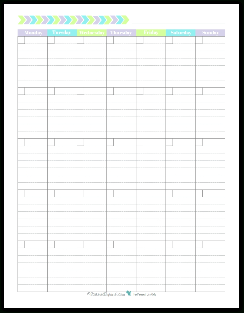 Monday Start Portrait Full Size - Scattered Squirrel-Blank Calendar Starting With Monday