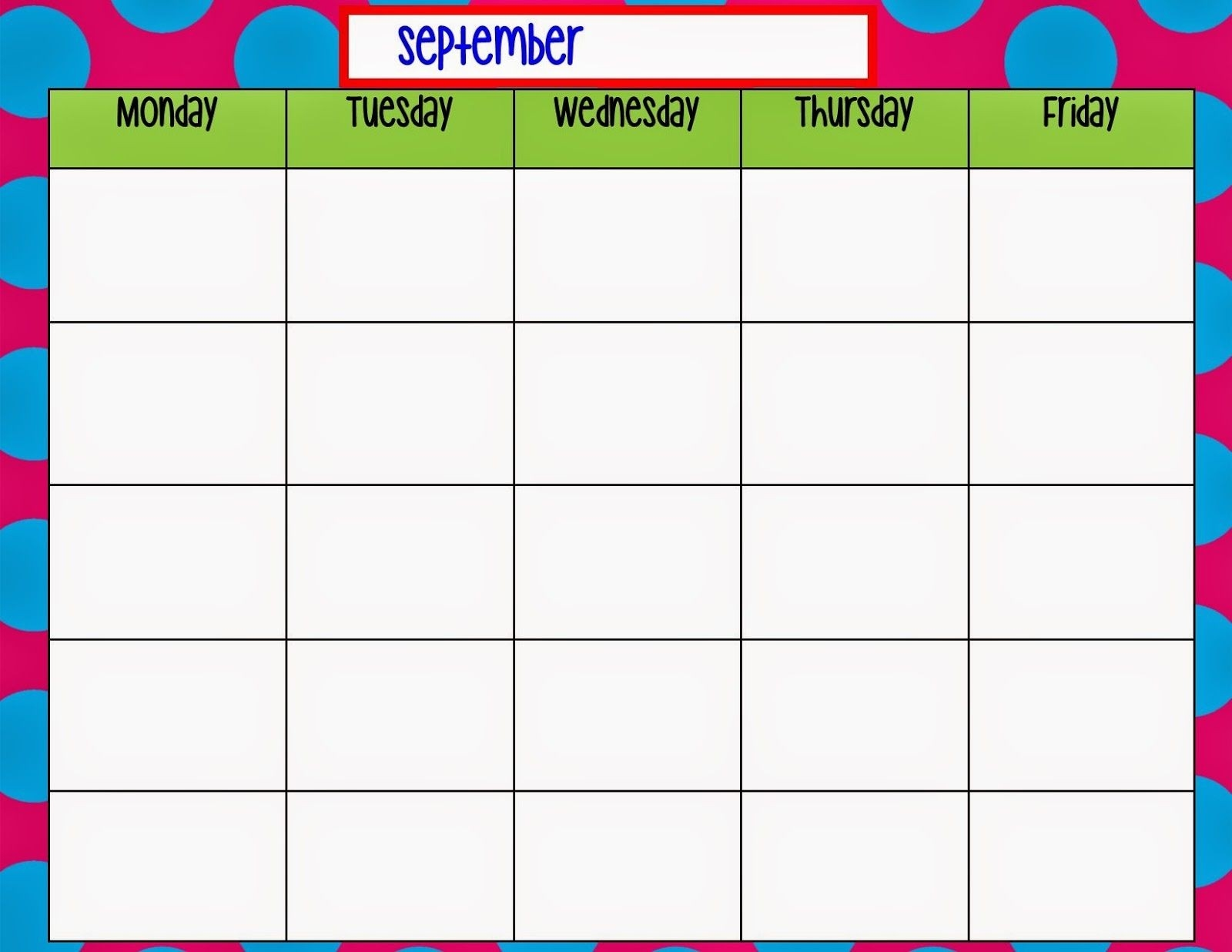 Monday Through Friday Calendar Template | Preschool | Weekly-Monday - Friday Diary Template