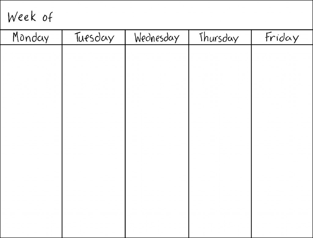 Monday Thru Friday Calendar | Calendar Template 2019-Blank Monday Through Friday Calendar