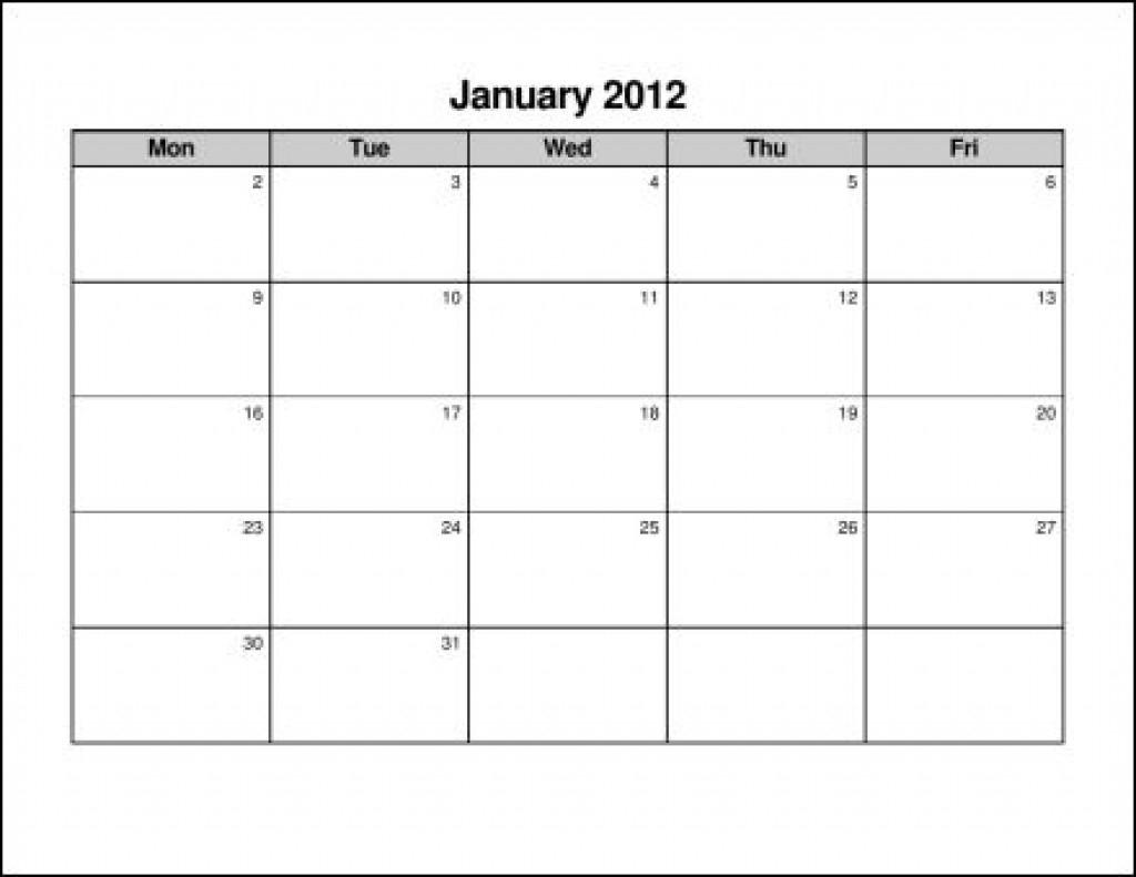 Monday Thru Friday Calendar Template - Parfu.kaptanband.co-Monday Friday Calendar Template Printable