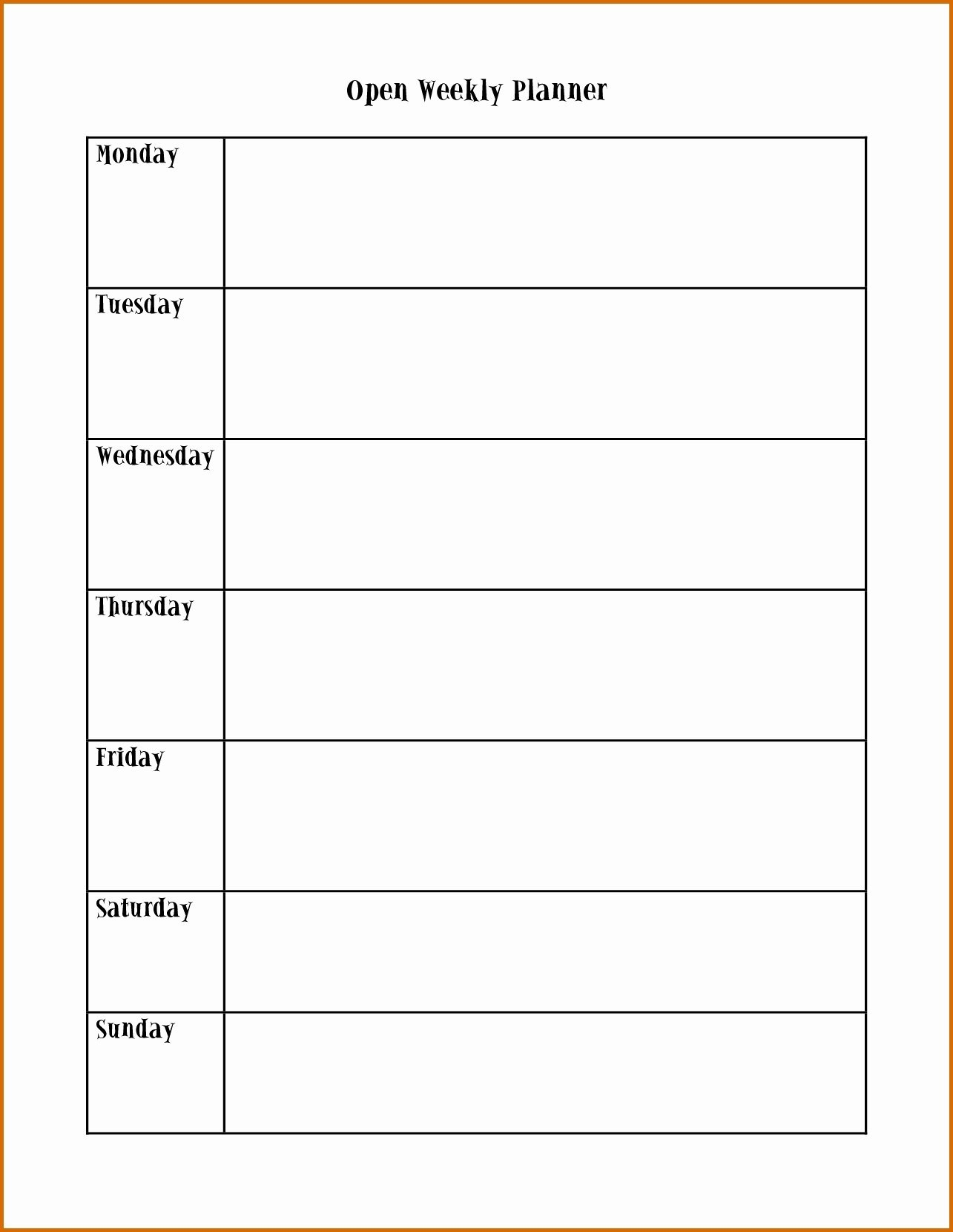 Monday To Friday Schedule Template | Wesleykimlerstudio-Monday Friday Calendar Template