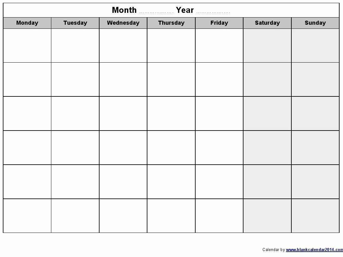 Monday To Sunday Calendar Template Beautiful Monday Thru-Monday To Friday Monthly Calendar