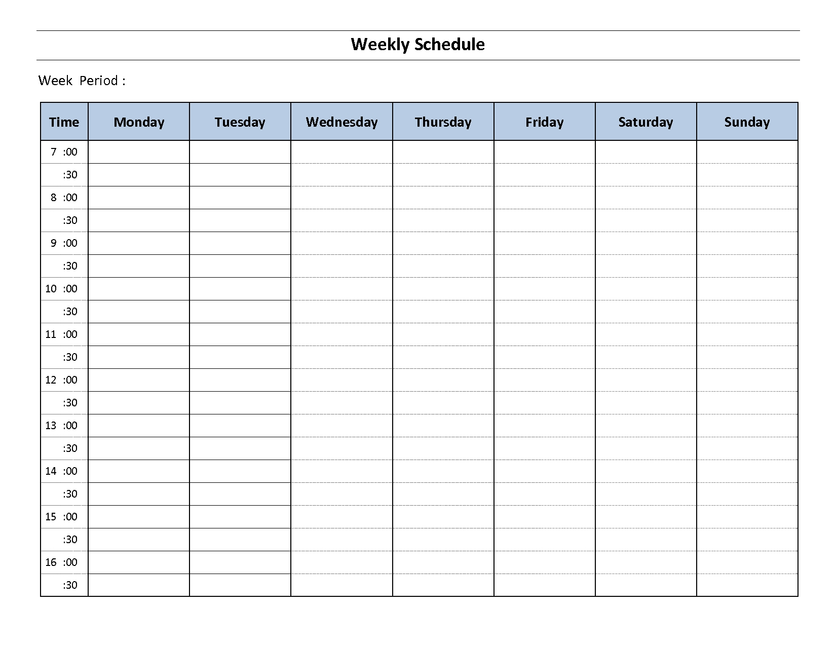 Monday To Sunday Schedule Template. Hourly Schedule Template-Monday To Friday 2 Week Calendar Template