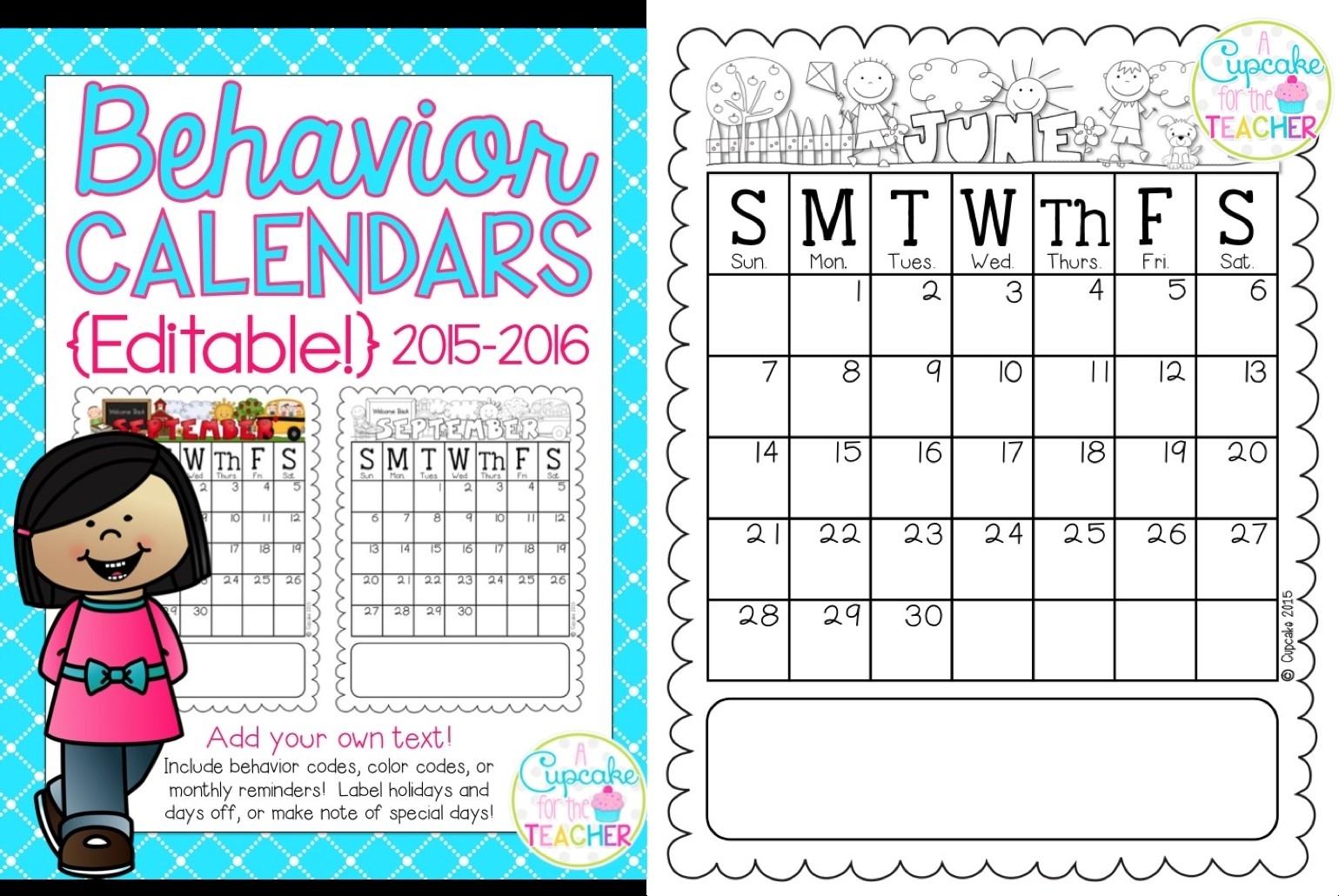 Monthly Behavior Calendar Template - Free Calendar Collection-Monthly Behavior Calendar Template