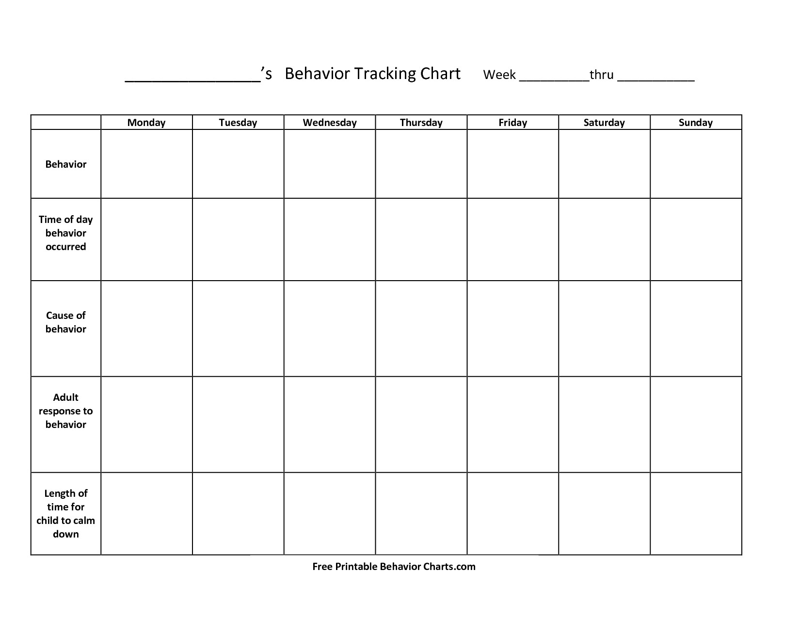 Monthly Behavior Calendar Template With Pictures Monthly-Editable Monthly Behavior Chart