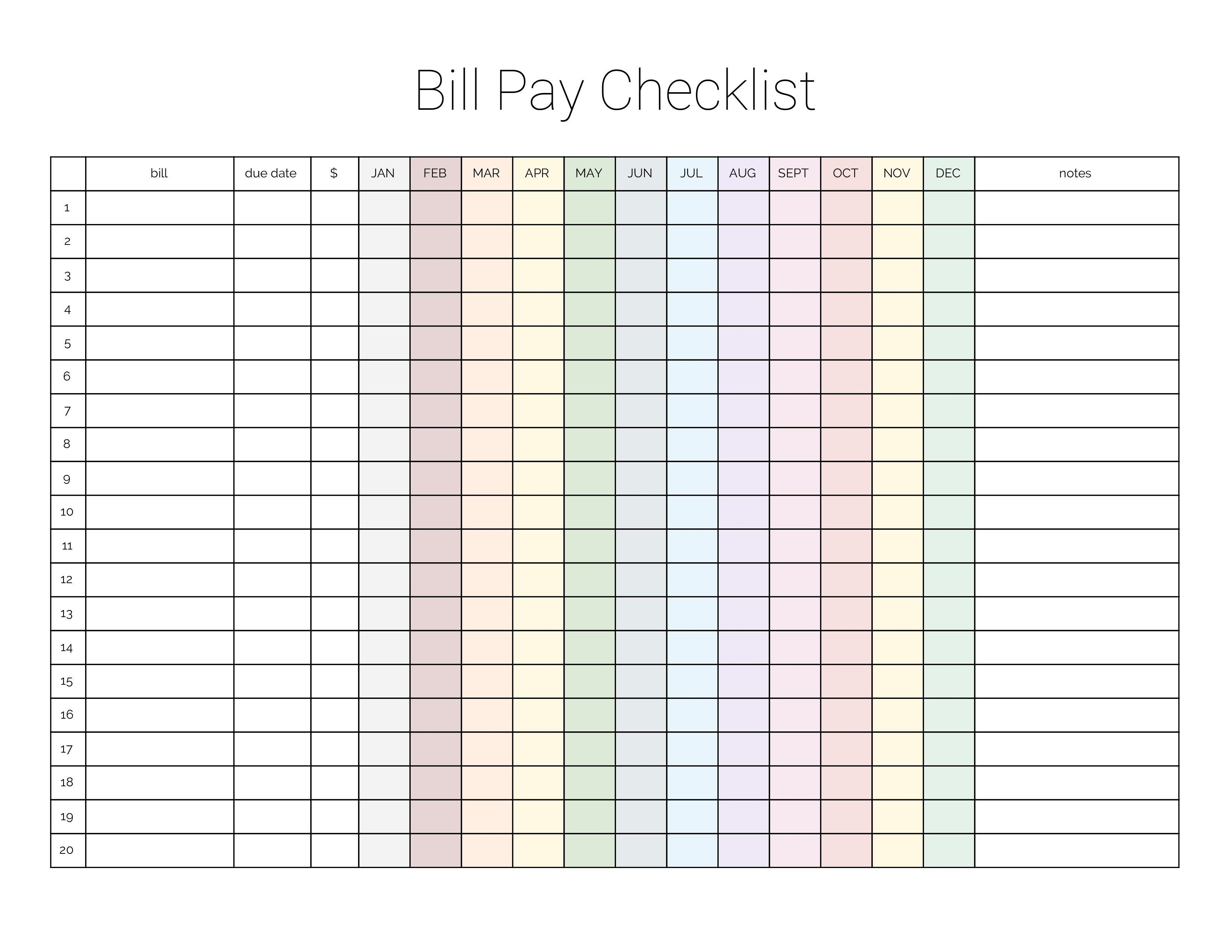 Monthly Bill Payment Checklist {Printable} | Bloggers Portal-Printable Monthly Bill Calendar