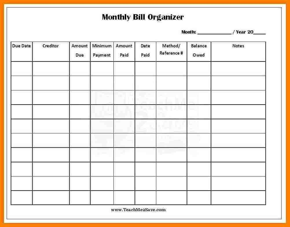 Monthly Bill Template Free Report Templates Pay Expenses-Free Bill Pay Templates Printable