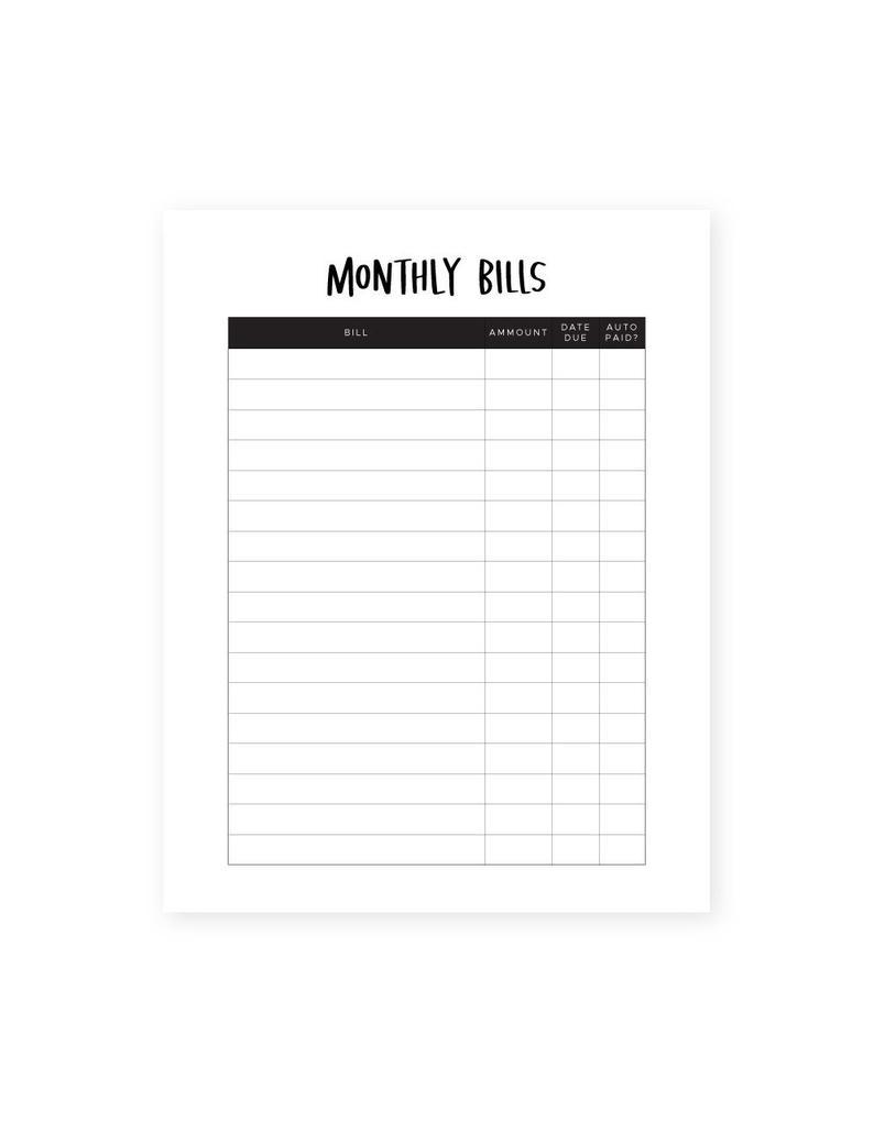 Monthly Bills List • Instant Download • Money Management • Download  Once—Print Infinitely! • Organization-Monthly List Of Bills Due