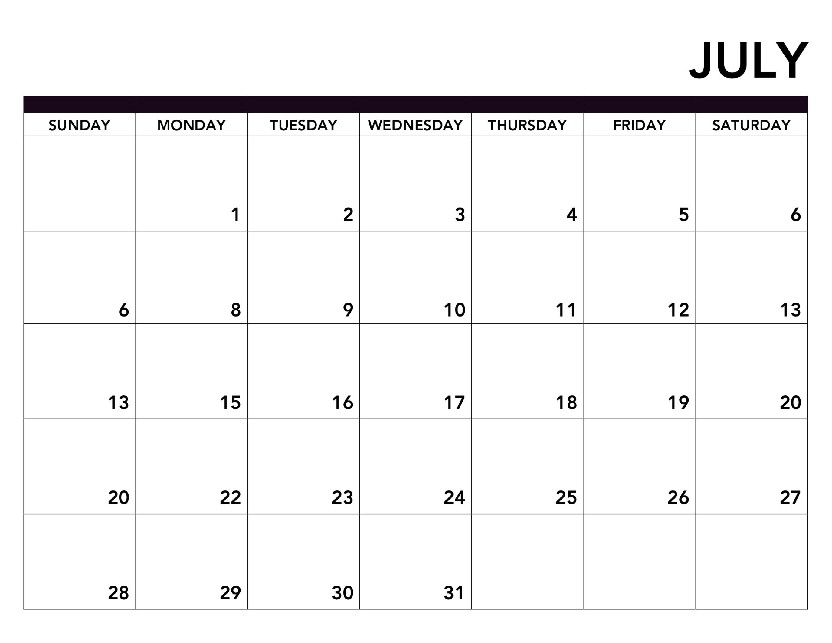 Monthly Blank Calendar July 2019 Printable Template-June July & August Blank Calendar