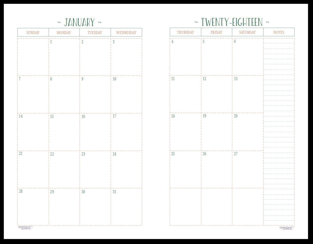 Monthly Calendar 2 Page To Print | Calendar Printing Example-2 Page Monthly Calendar Template