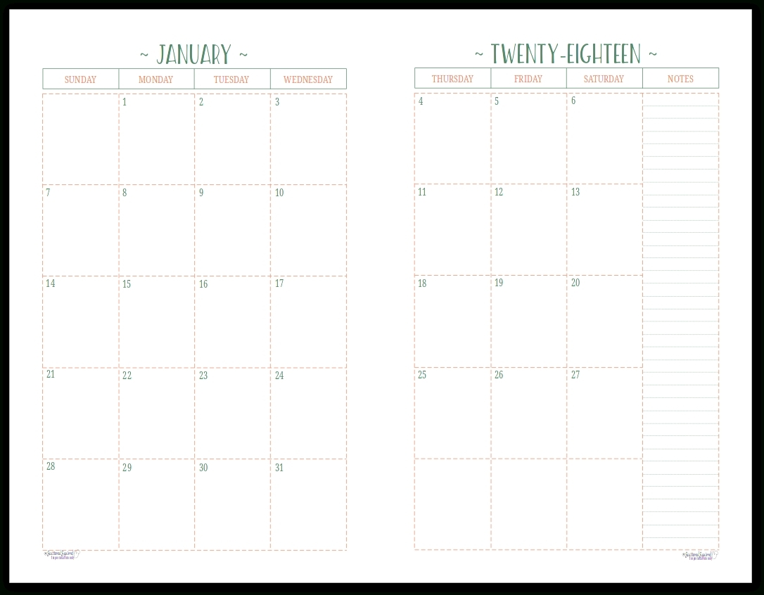Monthly Calendar 2 Page To Print | Calendar Printing Example-2 Page Monthly Calendar