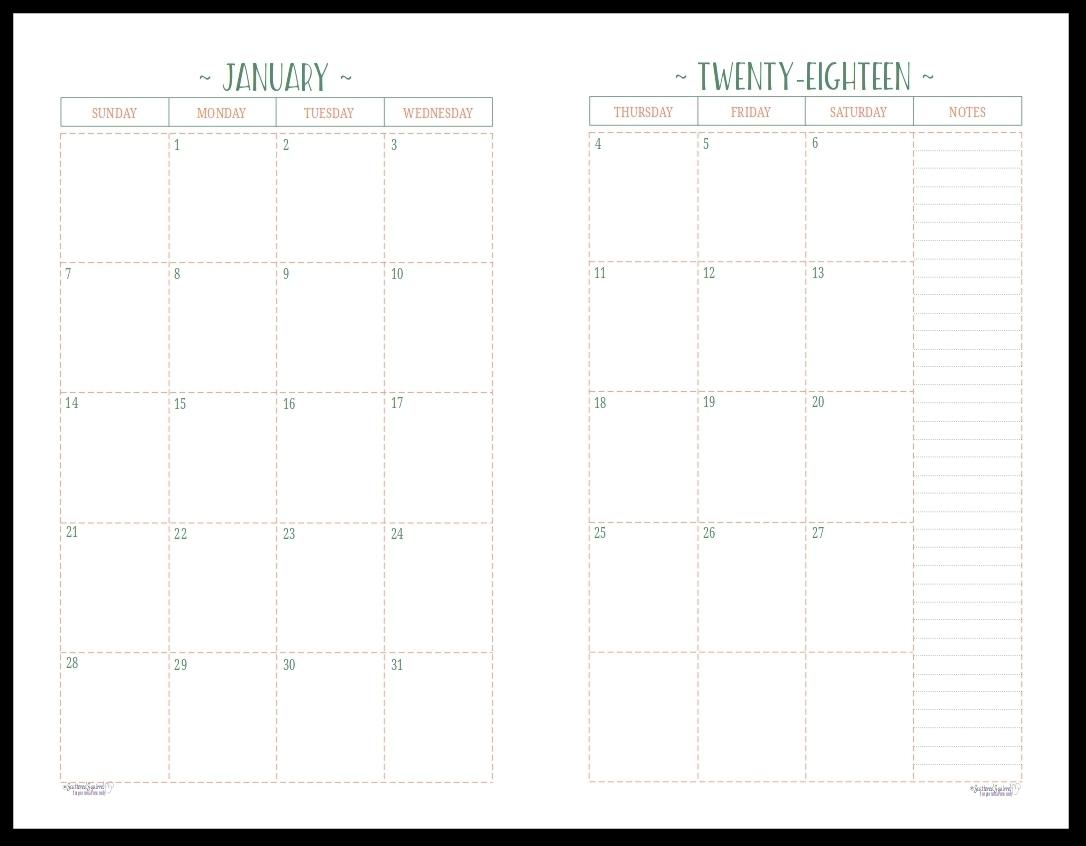 Monthly Calendar 2 Page To Print   Calendar Printing Example-Printable 2 Page Monthly Calendar Template