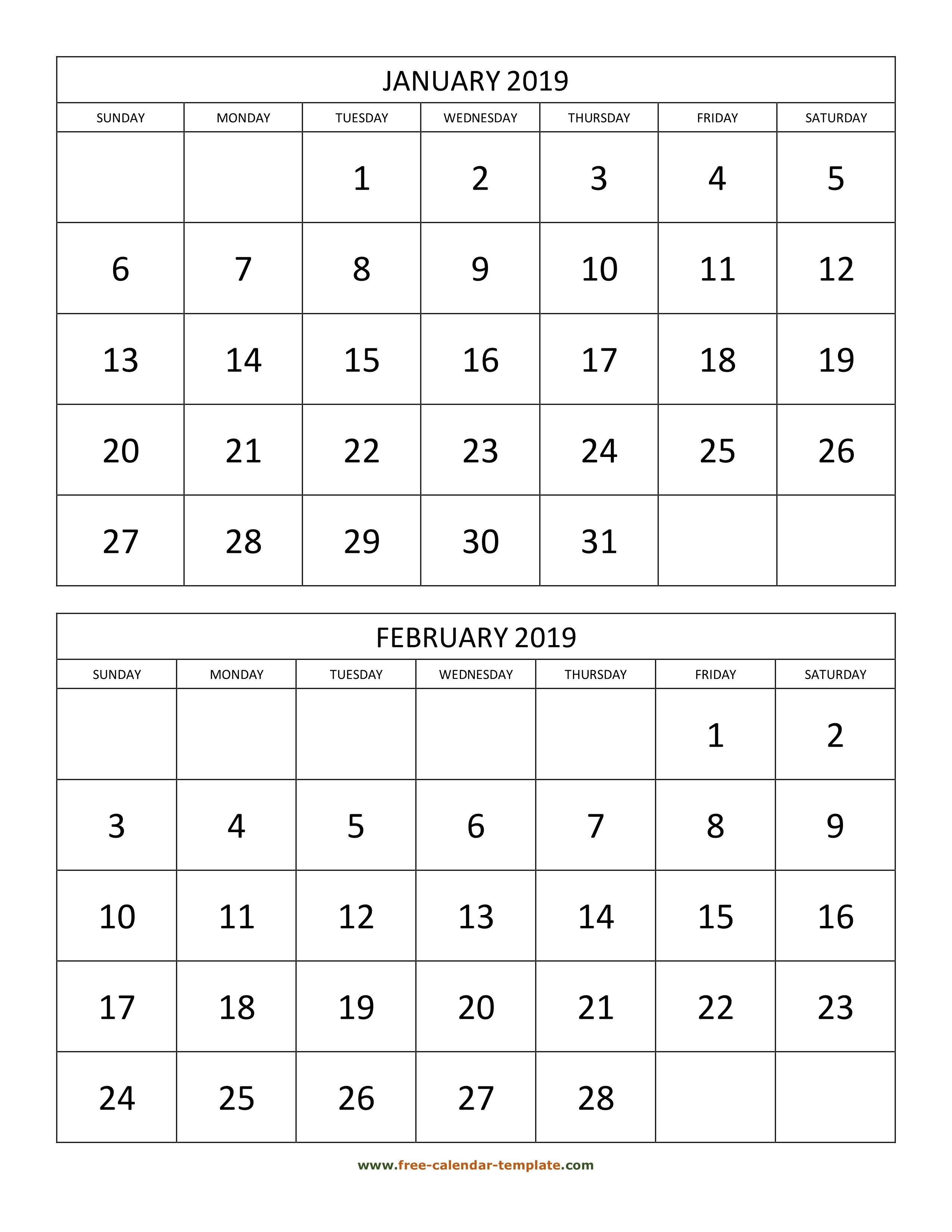 Monthly Calendar 2019, 2 Months Per Page (Vertical)   Free-Printable 2 Page Monthly Calendar Template