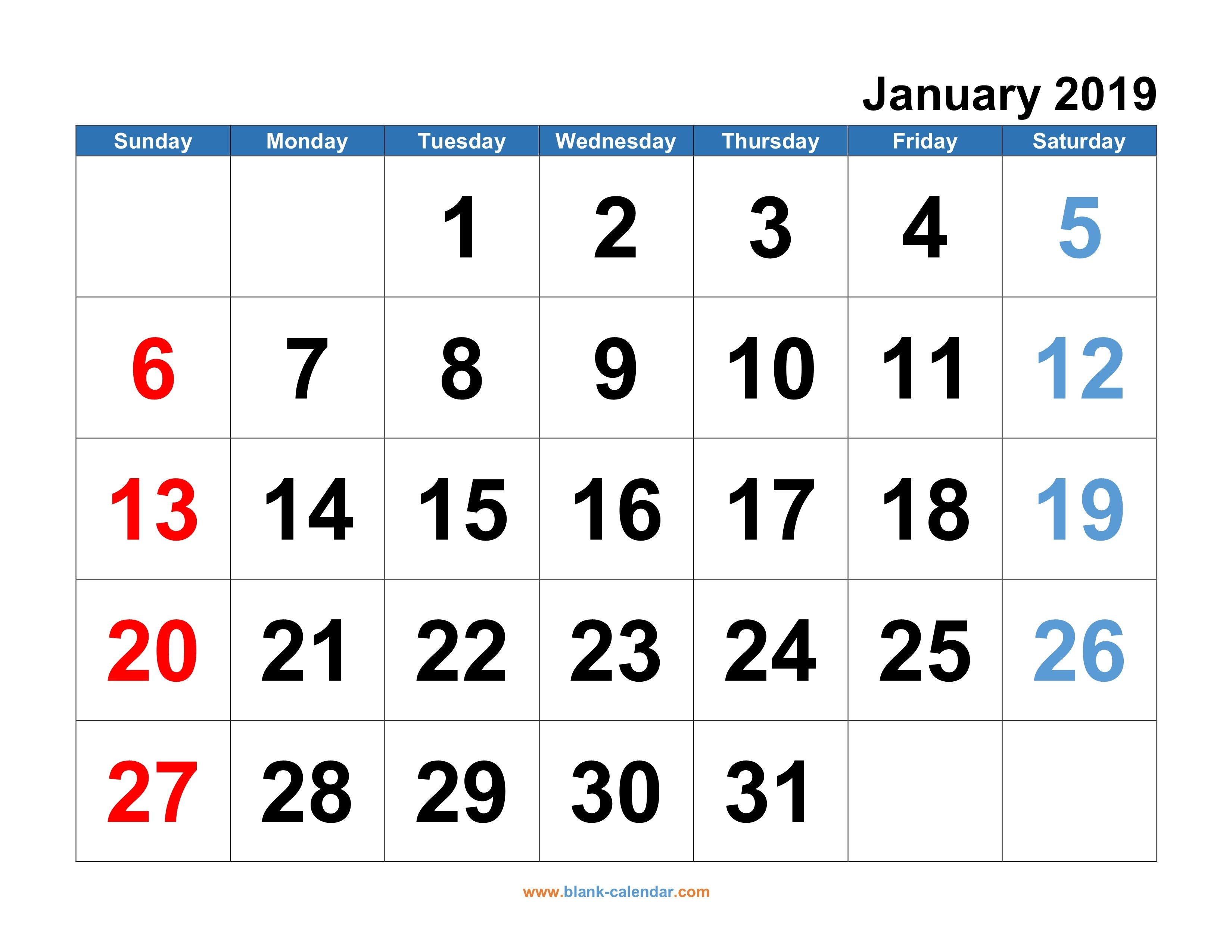Monthly Calendar 2019   Free Download, Editable And Printable-Monthly Calendar That Can Be Edited